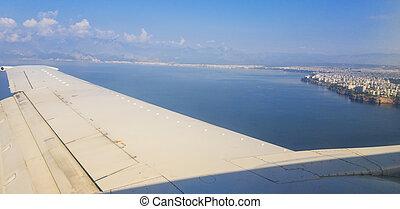 Plane window view to Antalya