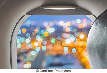 plane window with blur background