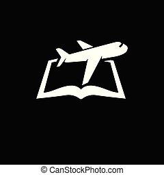 Plane with book logo icon vector template