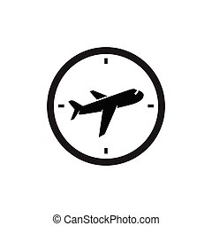 Plane with clock logo icon vector template. plane time logo