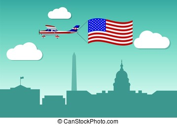 Plane with flag of United States of America
