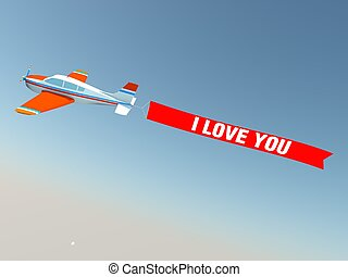 Plane with I love you banner