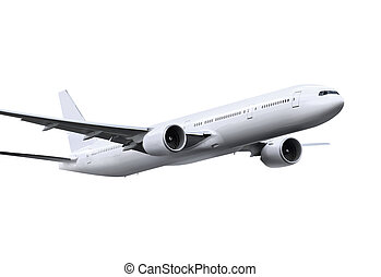plane with path - commercial airplane on white background ...
