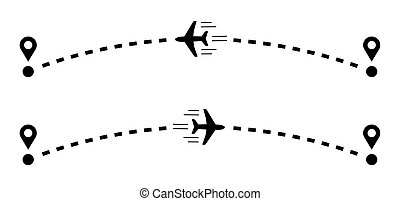 Plane with track vector illustration in flat style.