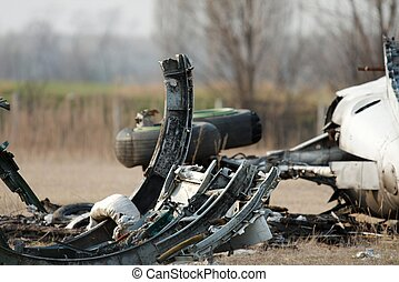 Plane Wreck - Airplane wreck on a field