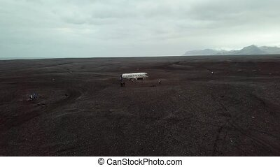 Plane wreck in Iceland - Crash-landed aircraft in Iceland,...