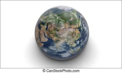 planeet, achtergrond, aarde, model, radvormigen, earth., witte , 3d