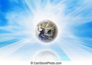 planeet, blauwe hemel