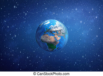 planeet, earth., europa, afrika, en, azie, van, space.