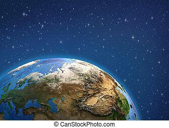 planeet, earth., europa, en, azie, van, space.