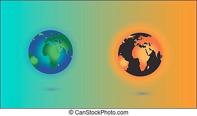 planeet, earth., zon, globaal, burning, concept, warming.