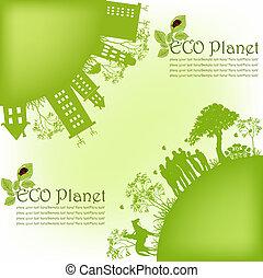 planeet, ecologisch, groene
