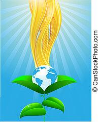 planeet, ecologisch, groene, vellen
