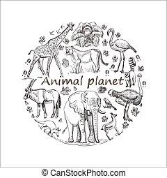 planeet, getrokken, sparen, dier hand
