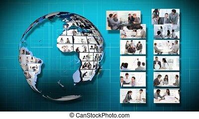 planeet, globe, geanimeerd, draaien, informatietechnologie