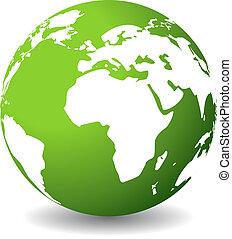 planeet, groene, pictogram