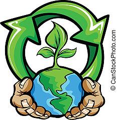 planeet, handen, vasthouden, aarde