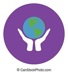 planeet, handen, vasthouden, pictogram