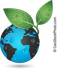 planeet land, concept, groene