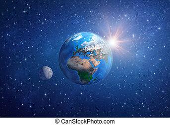 planeet land, de maan, en, de, zon, in, diep, space.