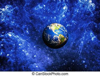 planeet land, diep, in, ruimte