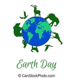 planeet land, dieren, ongeveer
