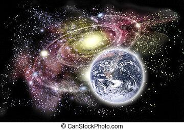 planeet land, en, melkweg, in, de, achtergrond