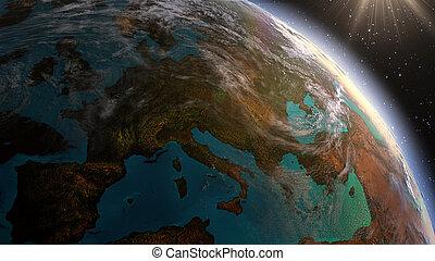 planeet land, europa, zone, met, nachttijd, en, zonopkomst