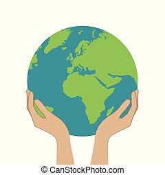 planeet land, houden, vrouwenhanden