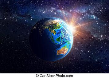 planeet land, in, buitenste ruimte