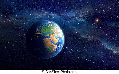 planeet land, in, diep, ruimte