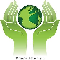 planeet land, in, handen