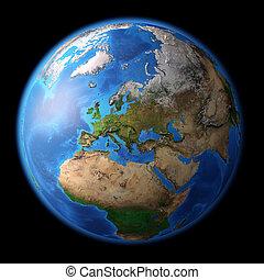 planeet land, in, hoog, resolutie
