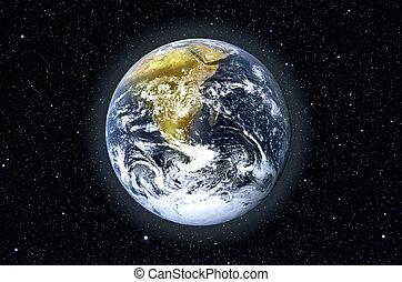 planeet land, in, ruimte