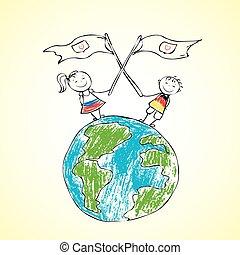 planeet land, kinderen