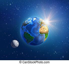 planeet land, maanlicht, en, zonneschijn, in, diep, ruimte