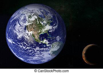 planeet land, melkweg, ruimte