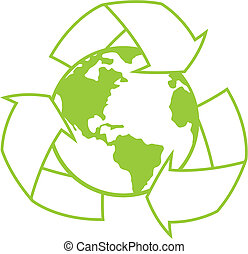planeet land, met, recycleren symbool