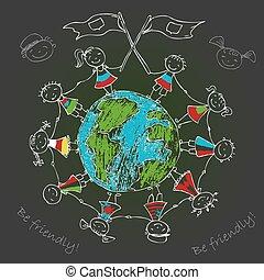 planeet land, multicultureel, kinderen