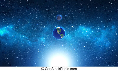 planeet land, nebula., ruimte