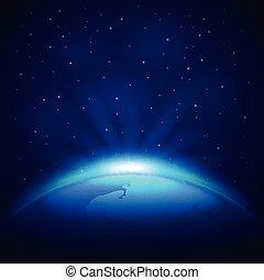 planeet land, ruimte, vector