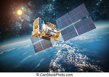 planeet land, satelliet, op, ruimte