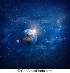 planeet land, zonopkomst, en, maan, in, buitenste ruimte
