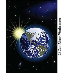 planeet land, zonopkomst, ruimte