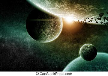 planeet, landscape, in, ruimte