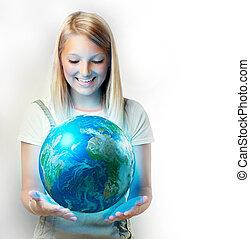 planeet, meisje, aarde, vasthouden