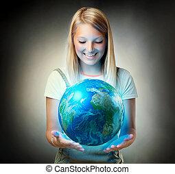 planeet, meisje, vasthouden, earth., toekomst, concept