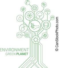 planeet, milieu, infographic., ecologie, groene