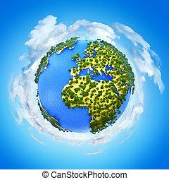 planeet, miniatuur, globe, aarde