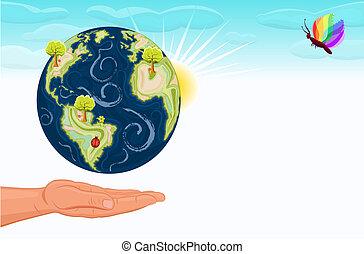 planeet, ons, sparen, groene aarde